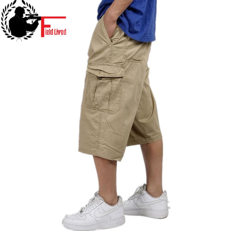 military style summer men baggy cargo cotton knee length pant casual trouser male large loose big size khaki xxl 3xl 4xl 5xl 6xl Y1892801