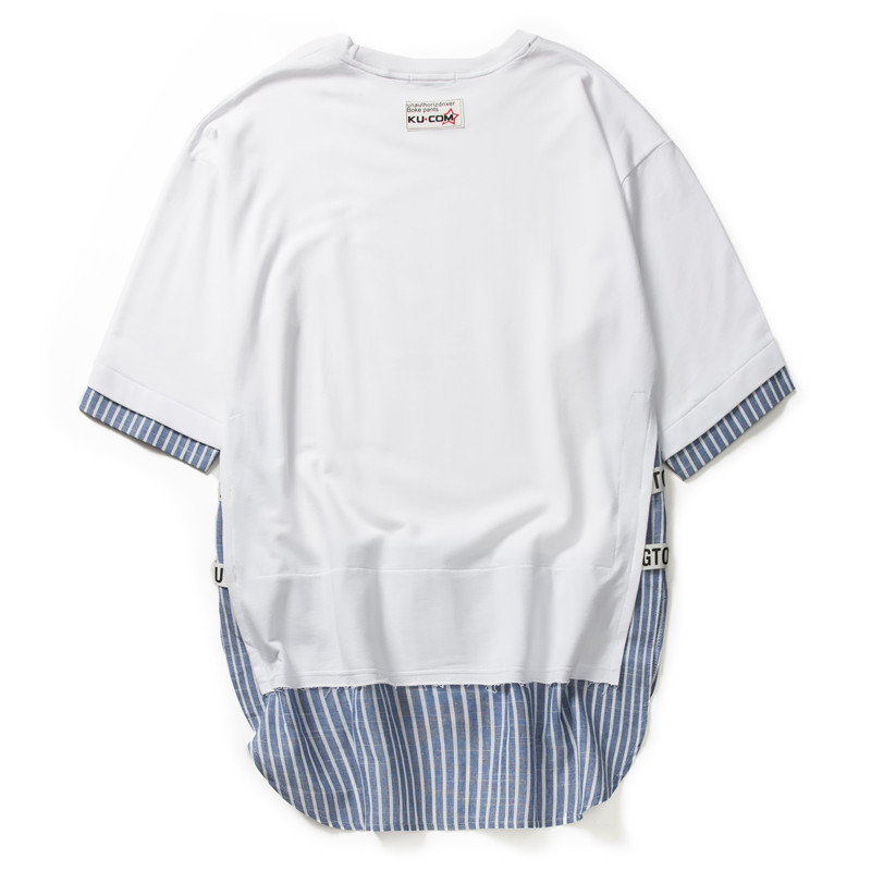 Striped Patchwork Curved Hem Extended T Shirts 8