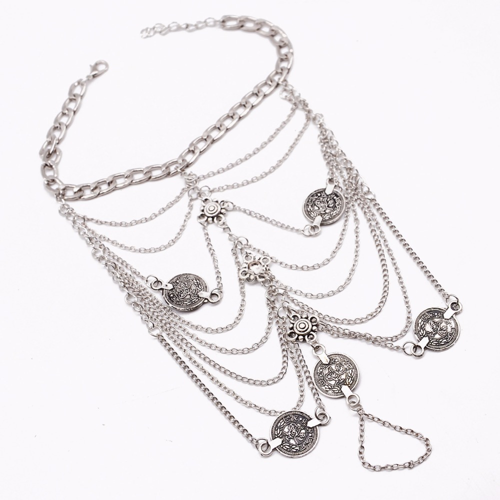 2017 New Fashion Summer Sexy Silver Tassel Anklet for women Coin Pendant Chain Ankle Bracelet Foot Jewelry Barefoot Sandal