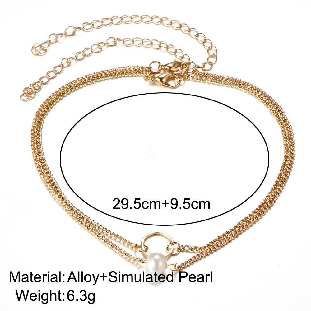 Européenne Cross-Border Bijoux All-Match Tide Produits Groupe Combiner Collier Mode Concise Pearl Multi-étages Costume Collier Pendentif
