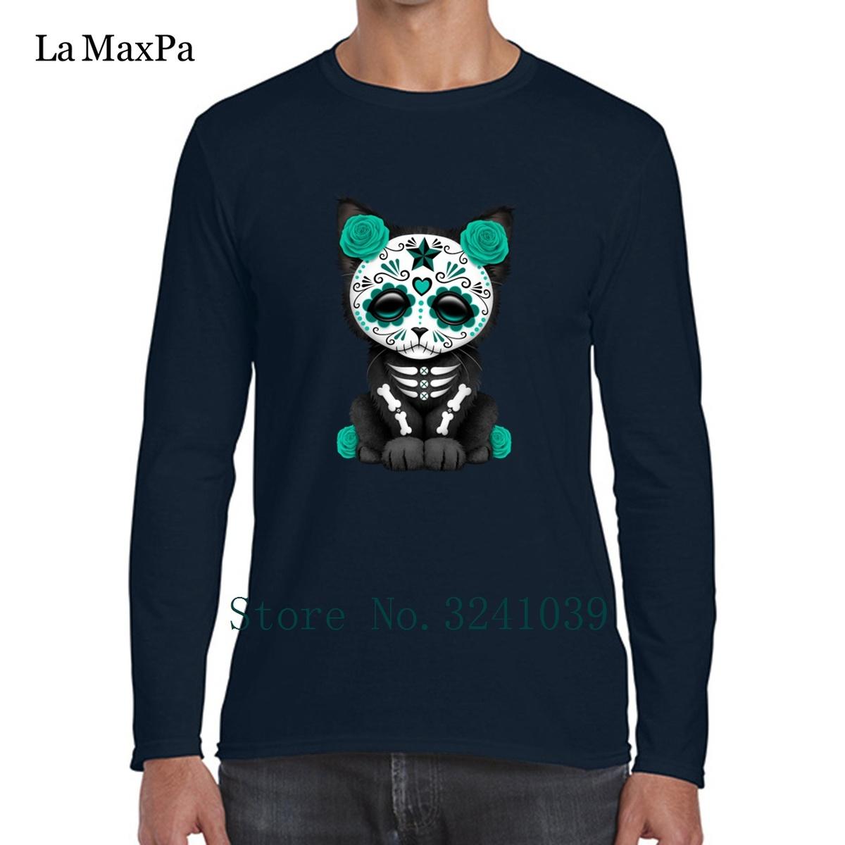 La Maxpa Blue Sugar Skull Kitten Novelty Men's Tee Shirts 2018 T-Shirt For Men Homme S-3xl T Shirt Mens Hiphop Tops