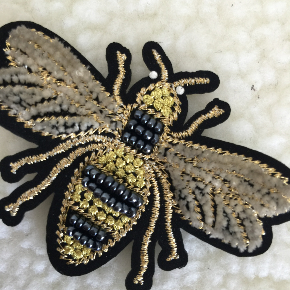 Handmade animal beaded applique 3D bee sew on rhinestone insect patches JL
