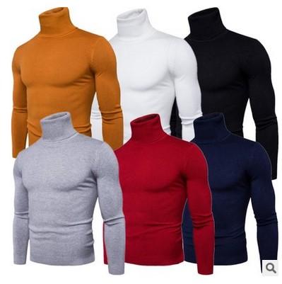 The 2017 men's winter turtleneck sweater slim Korean solid Turtleneck Shirt male thickened turtleneck sweater tide