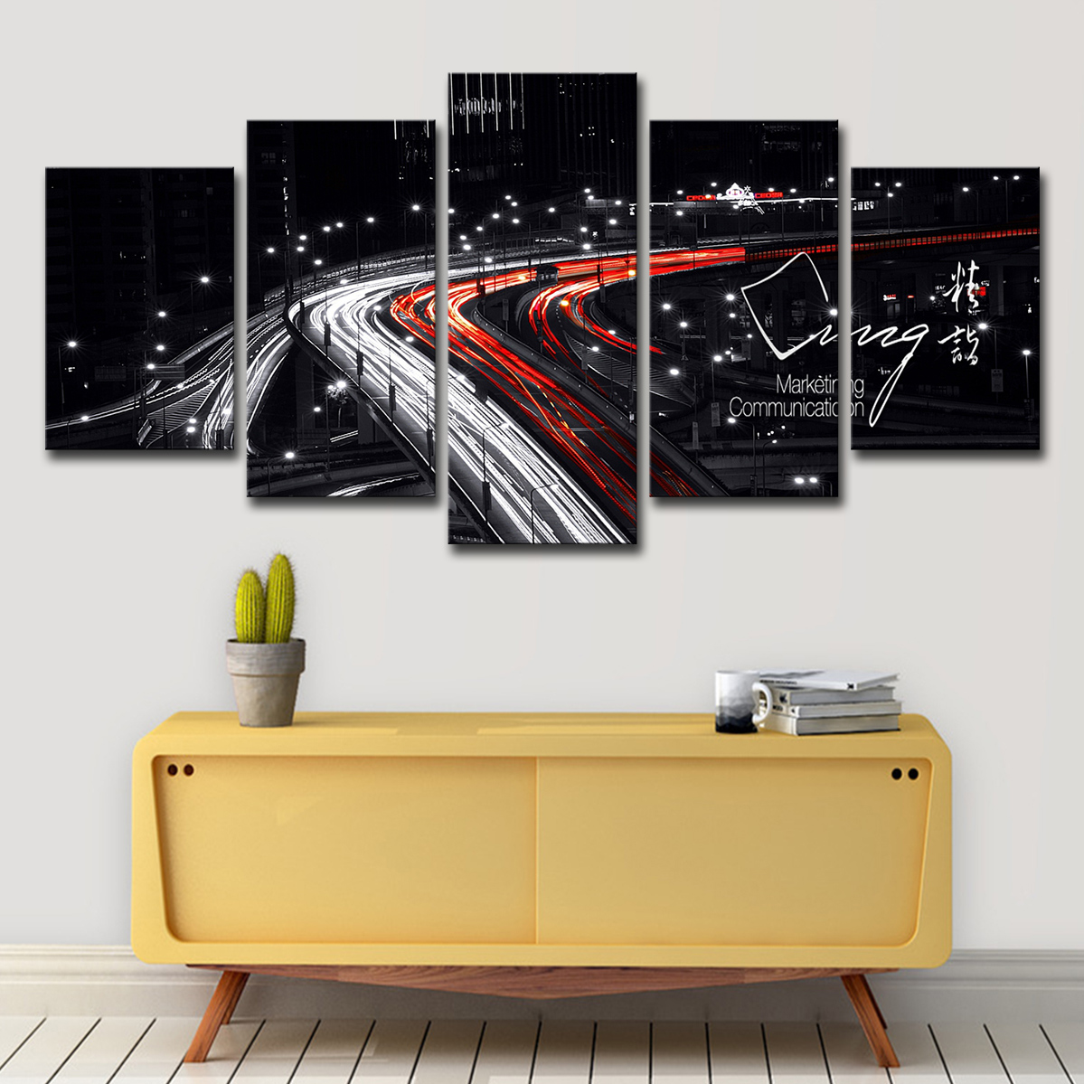 Salon Rouge Blanc Noir hd prints peintures mur art salon décor photos 5 pièces blanc pont noir et  rouge nightscape toile posters