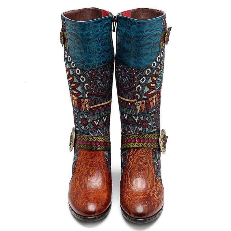Socofy Calf Von Cowgirl Block Echtleder Western Botas Damen Schuhe Knight Stiefel Zipper Retro Cowboy Heels Großhandel Mid Nm08wvn