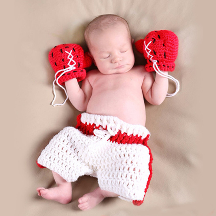 Newborn Baby Photo Photography Prop Costume Hat boys Girl Crochet Knit Clothes boxer Boxing gloves + pants Set for Infant Baby