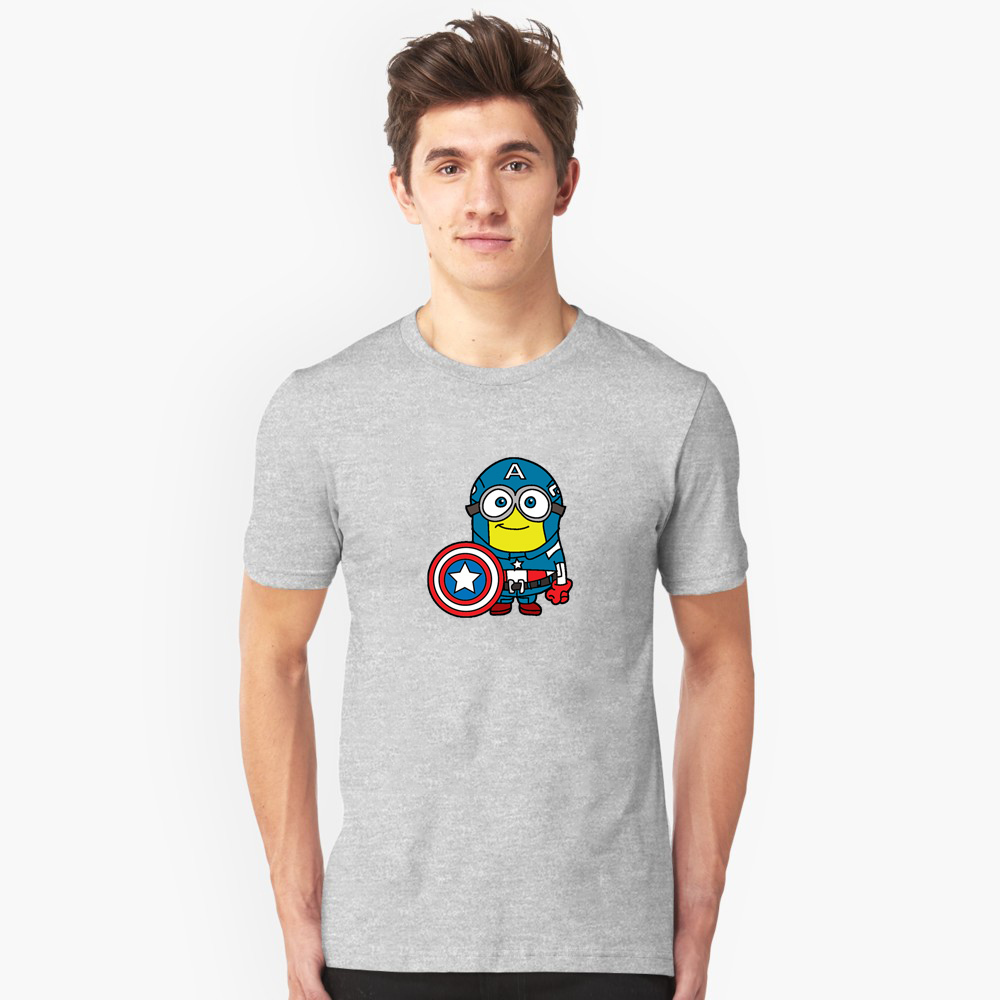 Minions Assemble – Captain Minerica Men's black and white three-color large size cotton short-sleeved shirt T-shirt casual comfort breathabl