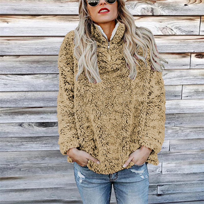 Sherpa Pullover Women Hoodies Autumn Long Sleeve Turtleneck Sweatshirts Solid Fleece sweater Zipper Soft Casual Home Clothing GGA1240