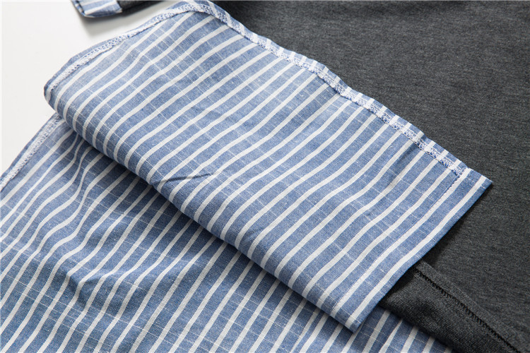 Striped Patchwork Curved Hem Extended T Shirts 16