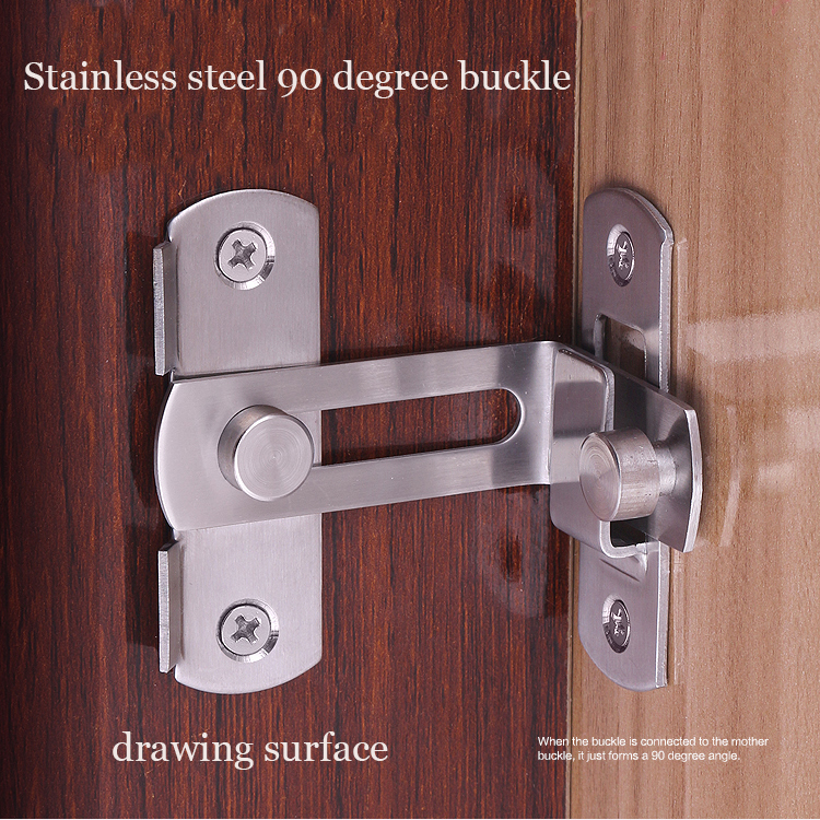 Gizlilik paslanmaz çelik Ahır Kapı kilidi kapı cıvata mobilya için 90 derece toka kabine kapı mandalı kilidi