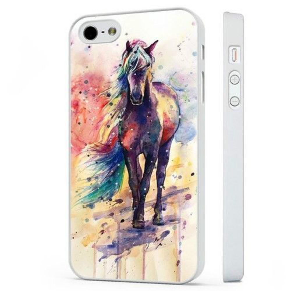 Beautiful Colourful Horse Painting Pony Phone Case For Iphone 5c 5s 6s 6plus 6splus 7 7plus Samsung Galaxy S5 S6 S6ep S7 S7ep