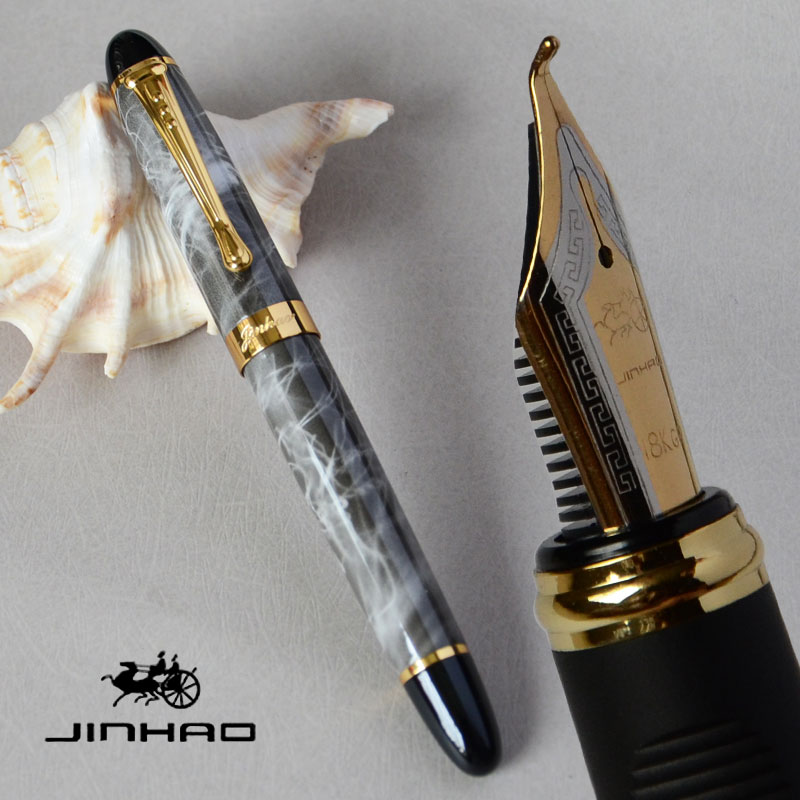 New Jinhao X450 Lightning Red Fountain Pen 0.7mm Broad Nib 18KGP Golden Trim