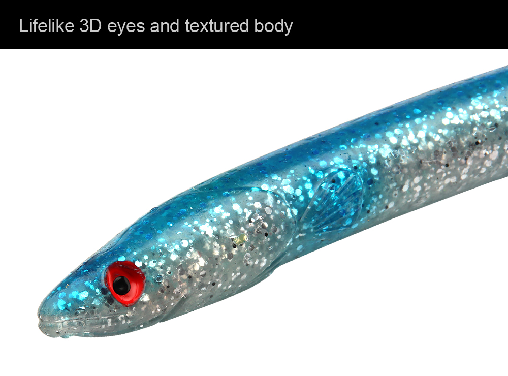 3pcLot Simulation Of Three-Dimensional Eel Lure Soft Baits Sinking Fishing Lure 29.5cm, 57g, 5 Colors Eels For Big Game (3)