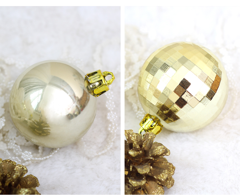 05 inhoo 50pcsset White gold balls Christmas Tree Decoration Ball Ornaments Pendant Accessories Decor For Christmas Home Party