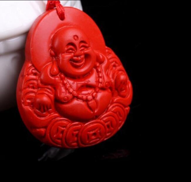 Chinois Naturel Rouge Organique cinabre chauve-souris Collier pendentif PORTE BONHEUR AMULET Hot