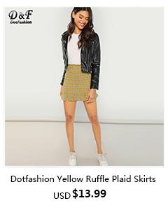 Yellow Ruffle Hem Plaid Skirts
