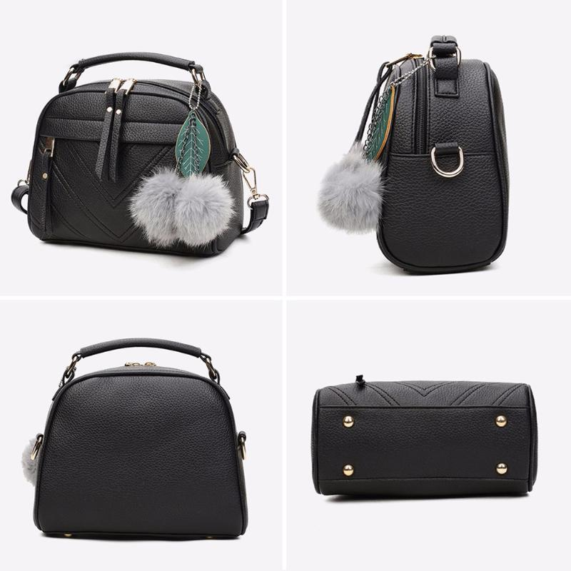 2019 Fashion Stylish Women Handbag PU Leather Cute Mini Messenger Shoulder Bags With Ball Toy Bolsa Feminine Female Party Shopping Handbags