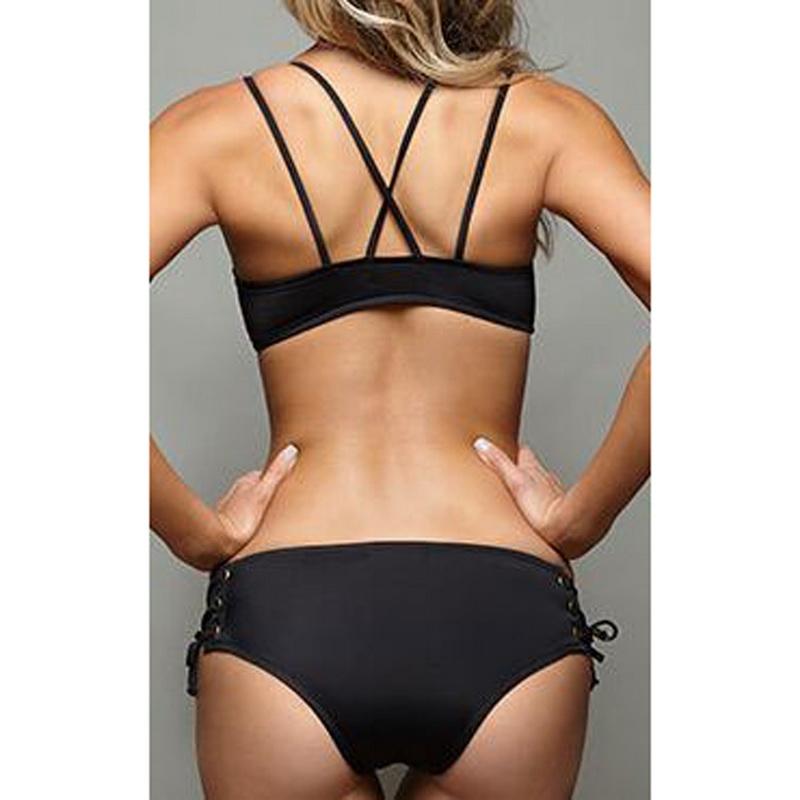 wholesale Lace Up Bikinis Set Sexy Push Up Beachwear For Women Black Strap Bathing Suits Biquinis Femme Bandage Swimsuits Fitness