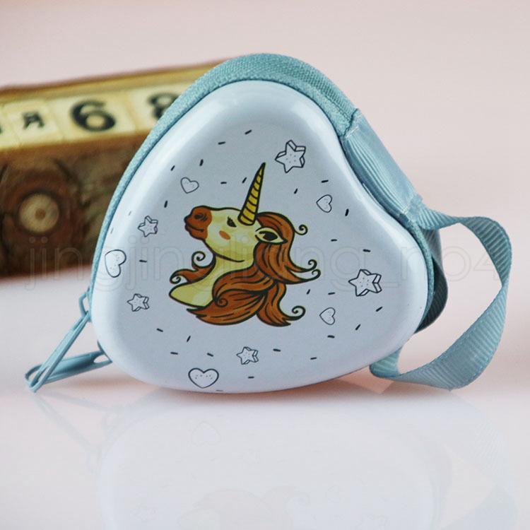 6 estilos Monedero de unicornio corazón monedero mini redondo Cremallera Monedero unicornio auriculares Monedero Bolsa de Dinero unicornio Creativo Llavero Bolsa FFA881 50 unids