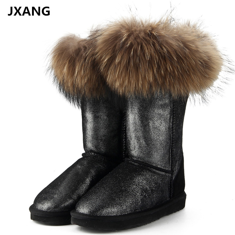 chic Women Real Genuine mink Fur Furry Snow Boots Warm Glossy Fur Flat shoes New