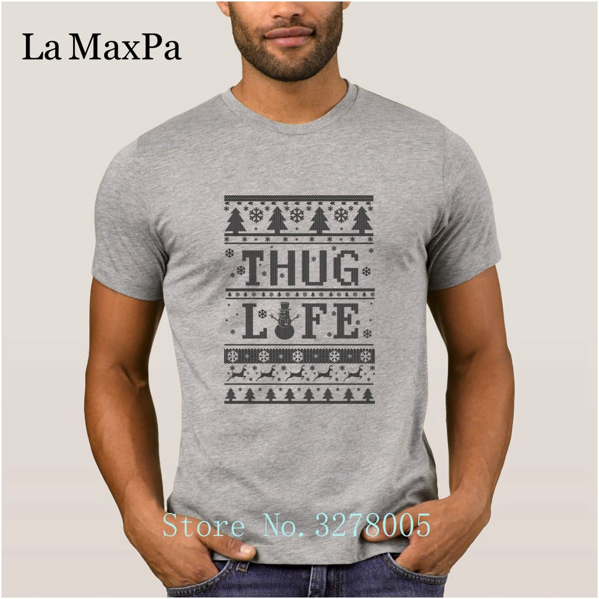 Brand La Maxpa Comical Thug Life Ugly Christmas T Shirts Men Anti-Wrinkle Men T-Shirt Adult Size S-3xl Tee Shirt Men Cheap Sale