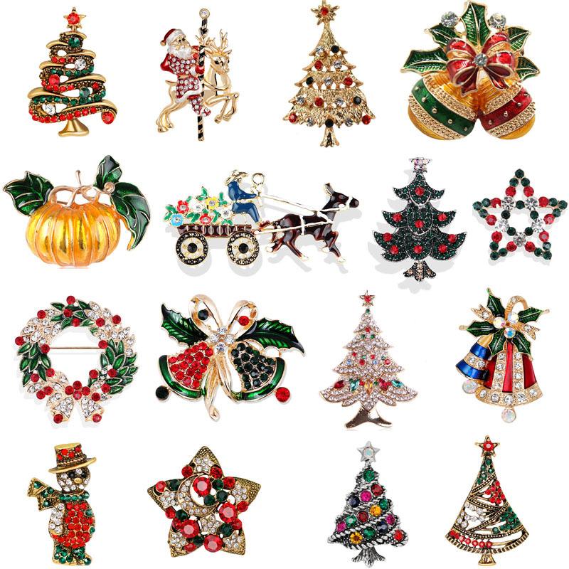 Silver 1pc Christmas Brooch Pin Christmas Bow Two Jingle Bells Charm Brooch Creative Design Rhinestone Brooch