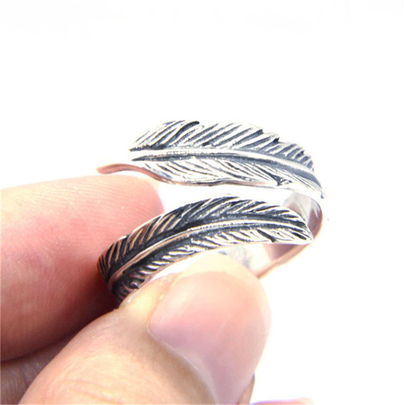 SOLID STERLING SILVER FEATHER FINGER RING ADJUSTABLE SIZE