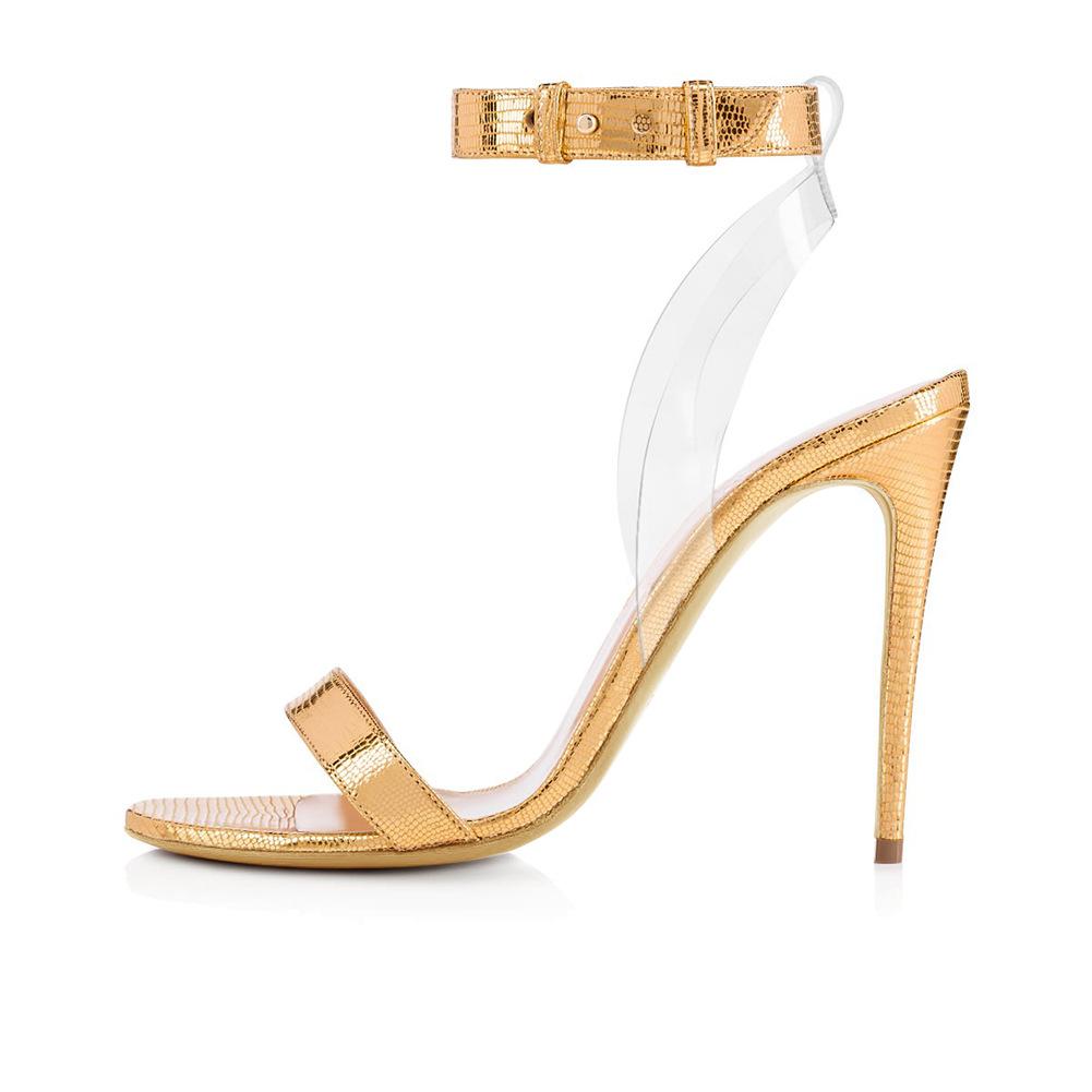 Livraison Gratuite 2018 Nouvelle Ligne De Mode Transparent Boucle Strap Stiletto Talons Femmes Sandales Femme Personnalisé Grande Taille Bureau Lady Party chaussures