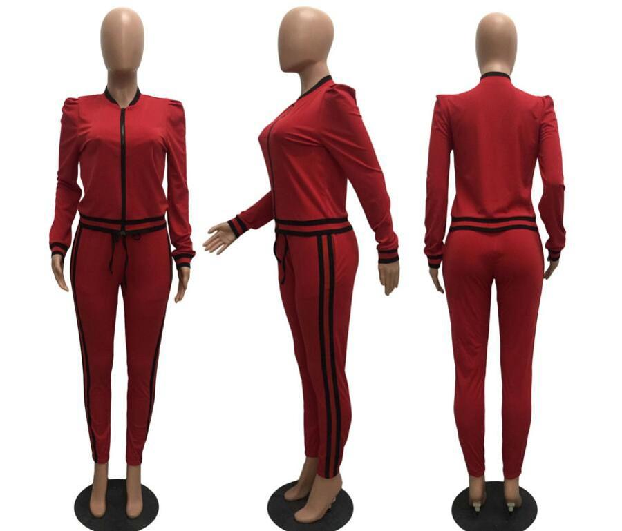 WAN XIANG YUAN Women Sportswear 2017 Autumn Long Sleeve Women 2 Piece Set Slim Pants Suits +Hooded Sets Women Suit 101705