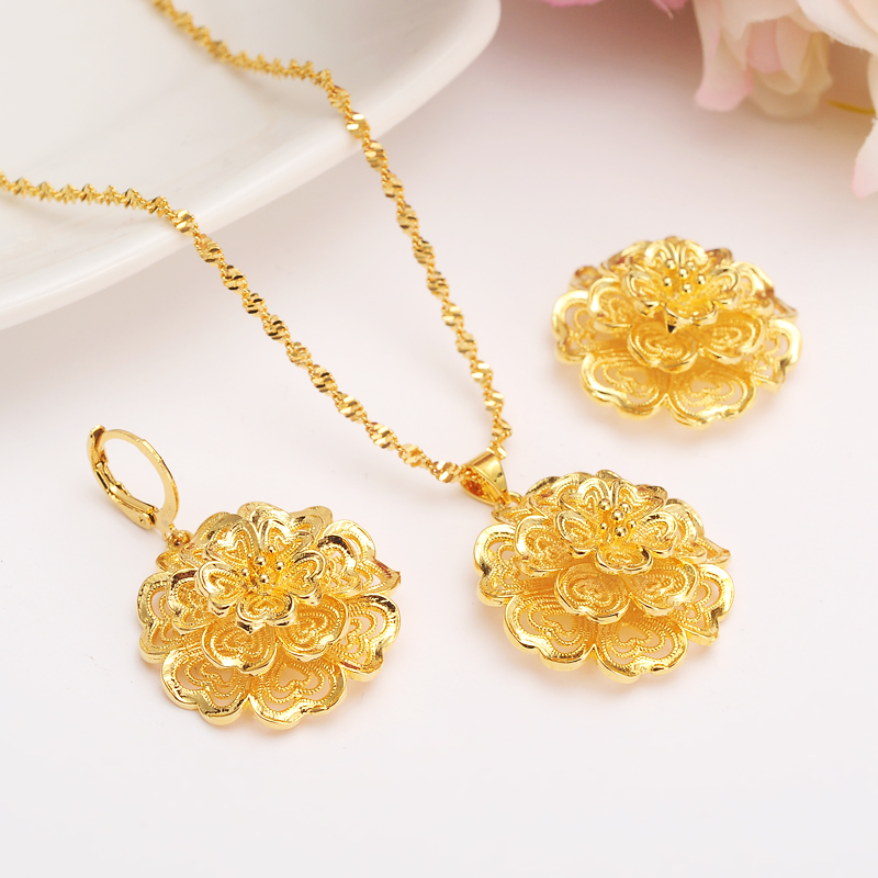 in full bloom 24k Solid Fine Yellow Gold Filled Multichamber Flower set Jewelry Pendant Chain Earrings African Bride Wedding Bijoux Gift