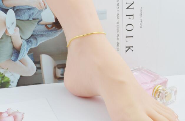 2018 HOT 2mm Snake chain plating Gold silvery Bracelet Foot chain Side Bracelet Foot ornament 21.5cm+3cm girl woman Fashion ornaments