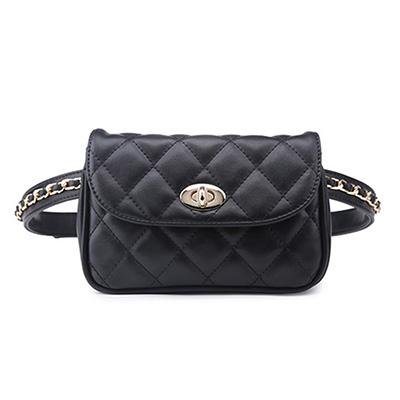 Women Waist Belt Bag Chain Belt Pack Waist Bag Plaid Small PU Leather Women Bag Travel Bags Casual Waist Pack