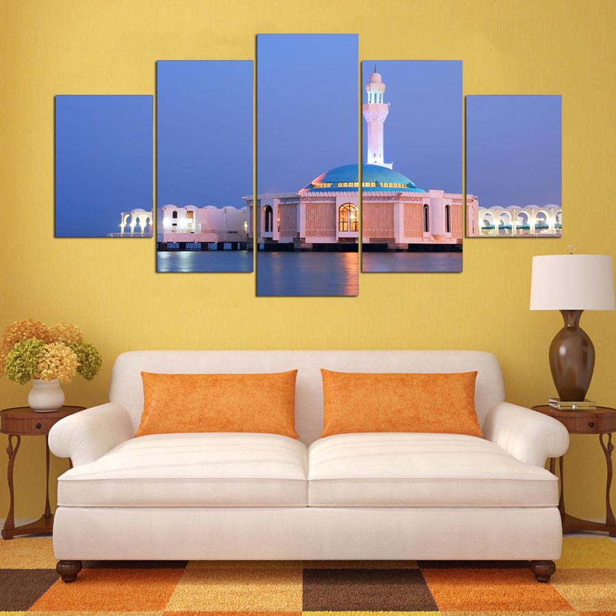 Decorative Modular Pictures For Living Room Bedroom Prints Canvas Painting Wall Artwork Abstract 5 Panel Building Landscape
