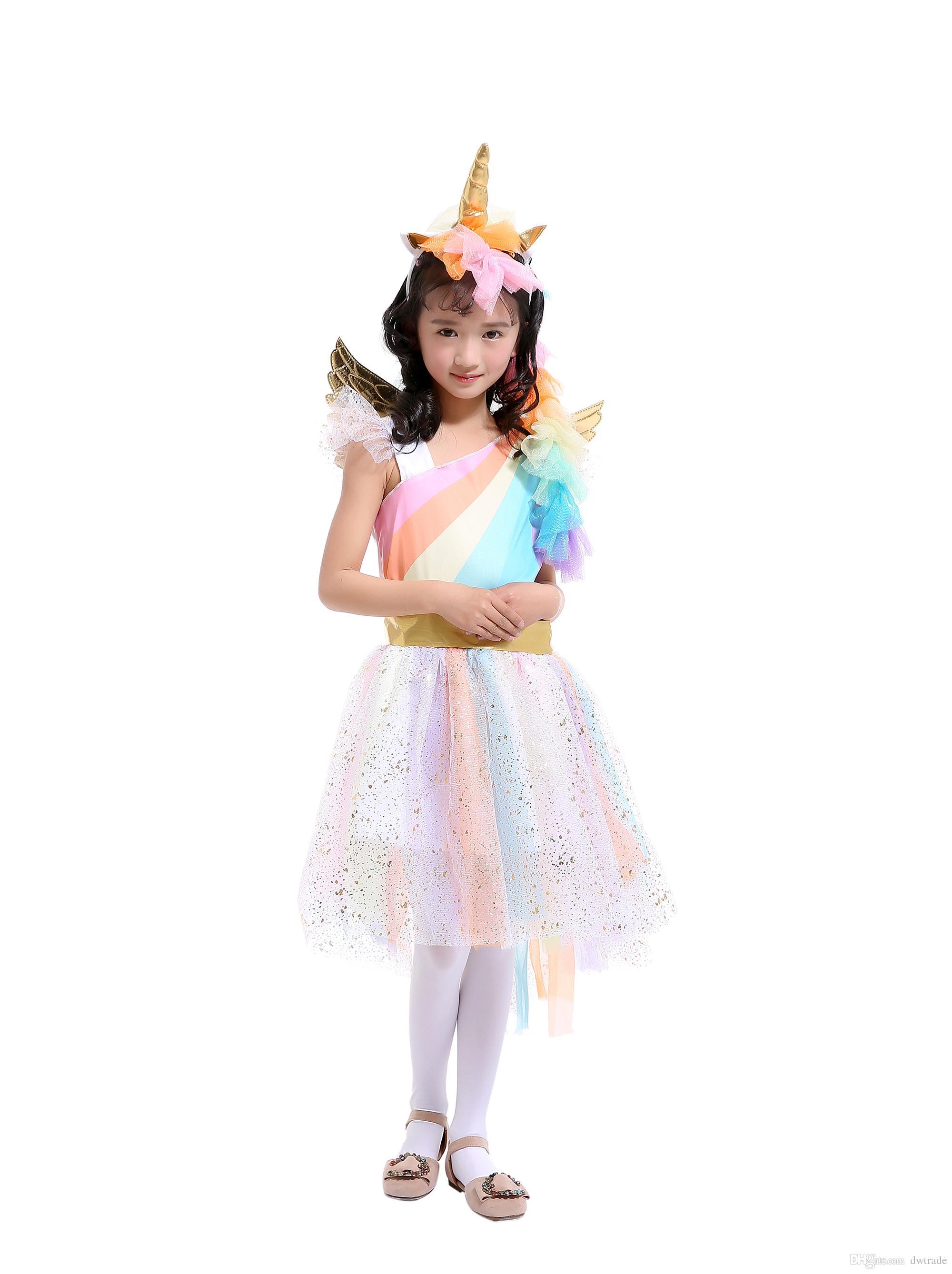 Unicorn Rainbow Color Princess Tutu Dress Suits with 1 Unicorn Corn Headband+1 Golden Wings Cosplay Clothing Girls Stage Performance Dresses