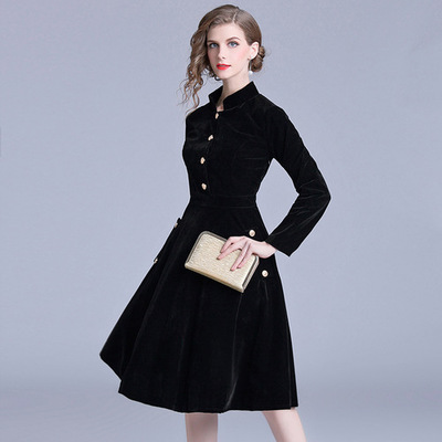 Women Velvet Temperament Dresses Solid Color Commuter Star Stand Leader Large Swing Skirt Slim Long-sleeve Dress