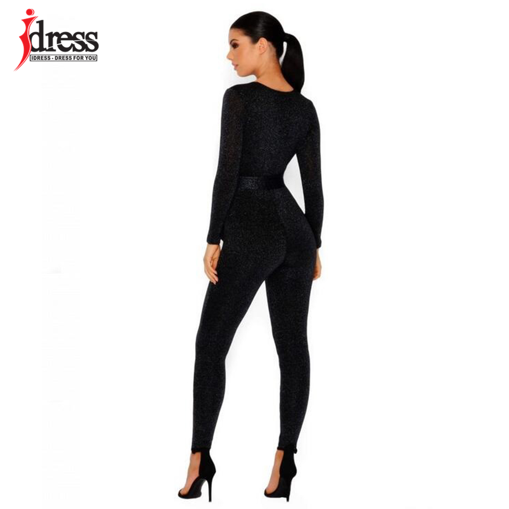 IDress 2018 New Spring Autumn Women\`s Sexy Long Sleeve Black Gold Illusion V Neck Sashes Bodysuit Elegant Rompers Women Jumpsuit (11)