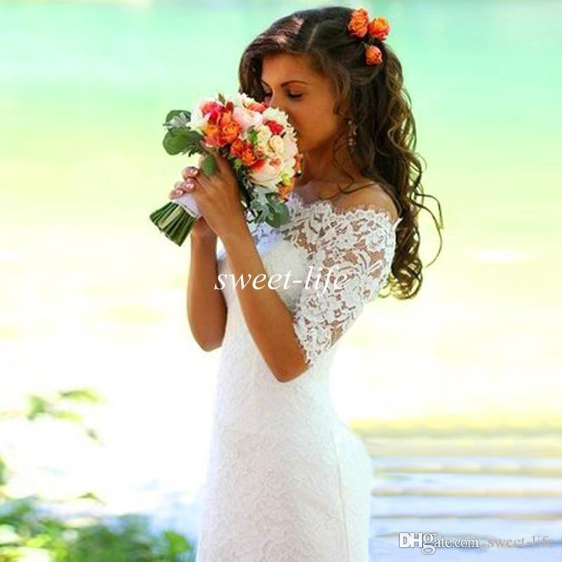 2016 Newest Fashion White Ivory Full Lace Wedding Dresses Mermaid Bateau Half Sleeve Sweep Train Country Bridal Gowns for Bridal Plus Size