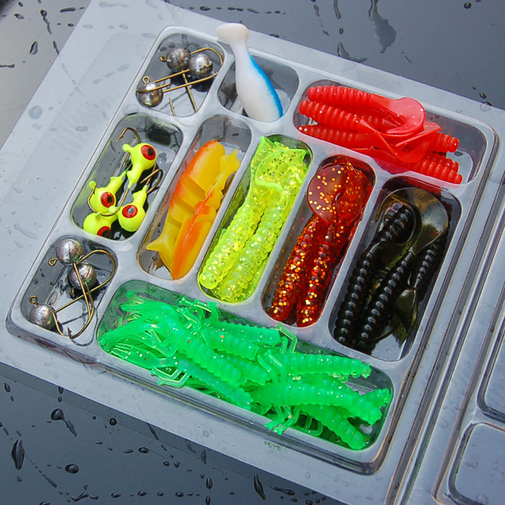 /Box Mixed Fishing Lure Hook Set Kit Soft Artificial Worm Shrimp Minnow Baits Lead Jig Head Hooks Sea Fishing pesca Tools Y1890402