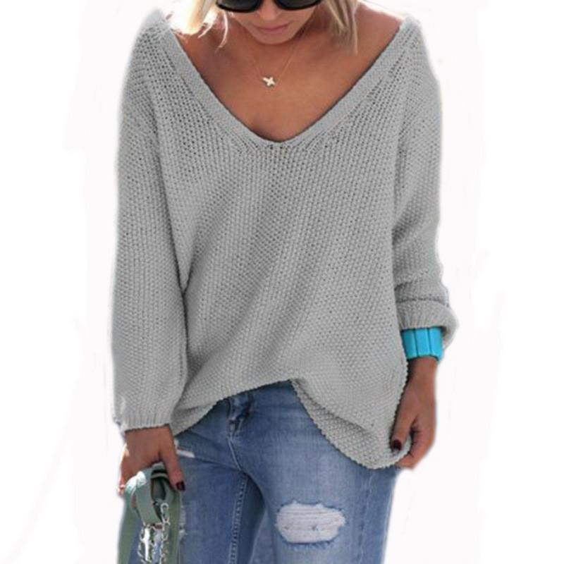 V-Ausschnitt Pullover Volltonfarbe Pullover Tops Mädchen Frauen Herbst Strickwaren Lose beiläufige Pullover Pullover Langarm T-Shirts Outwear Weihnachten