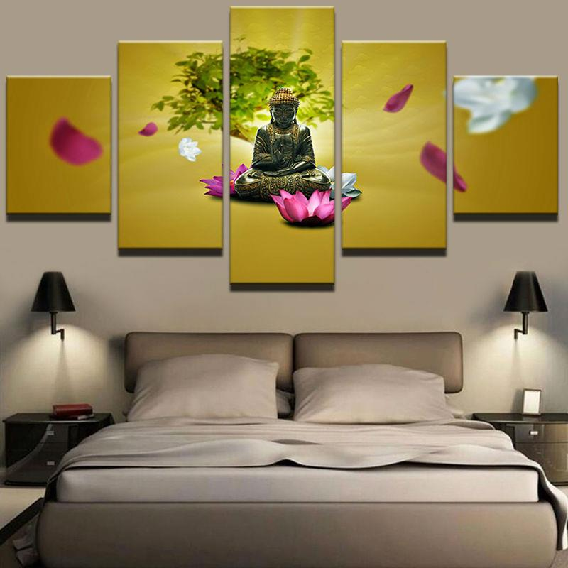 Poster HD Printed Painting Fashion Frame 5 Panel Buddha Large Home Decoration Wall Artwork Modular Pictures For Living Room