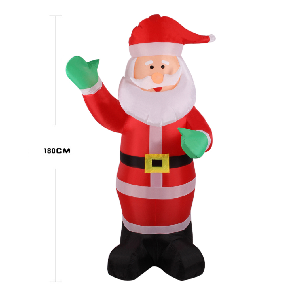 1.8m Inflatable Santa Claus Christmas Decorations for Home Yard Garden Inflatable Waving Hand Father Christmas Inflatable Statue
