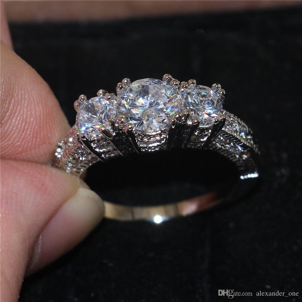 Size 6,7,8 ,9 wholesale Fashion Lady`s White Sapphire 10KT white gold filled Wedding Gem Crystal Stone Ring Jewelry for Women
