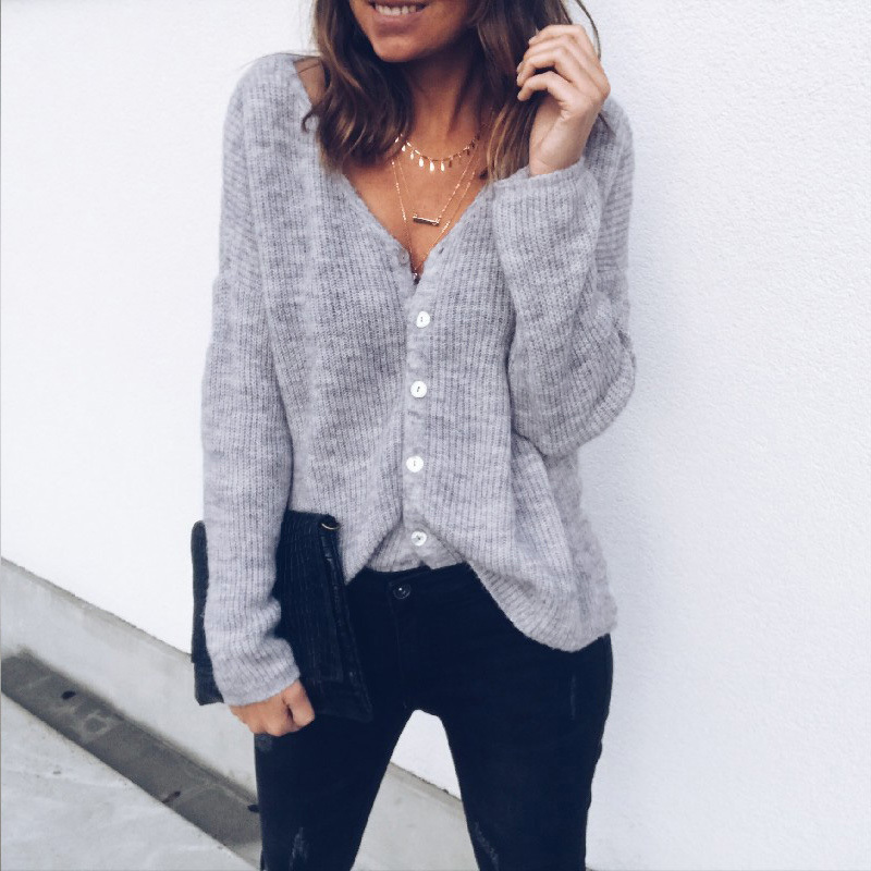 Solid Long Sleeve Sweater Outwear Tops Women Autumn Knitted Cardigan Ladies Casual Button