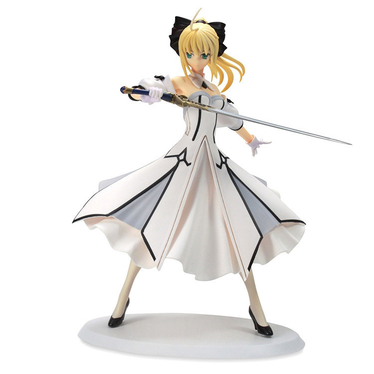 Action Figure Fate/stay Night Saber White Dress Cartoon Doll PVC 18cm Box-packed Japanese Figurine World Anime Toy 170701