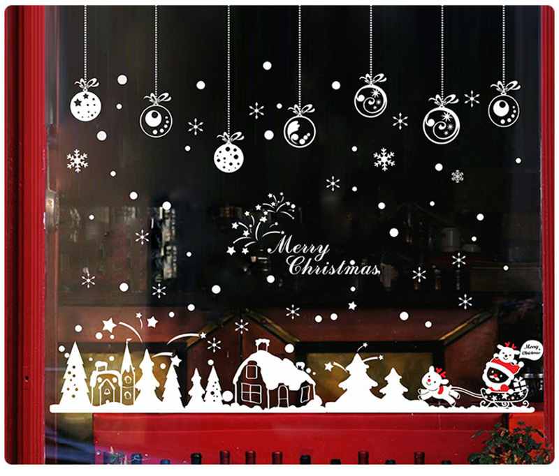 2019 New Year Merry Christmas Decorations for Home Snowflake Hut Wall Sticker Shop Window Glass Decoration Removable PVC Sticker (7)