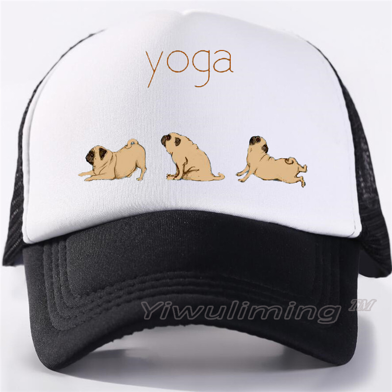 Dabbing Pug Cute Dabbing Dog Mesh Caps Adjustable Unisex Snapback Trucker Cap
