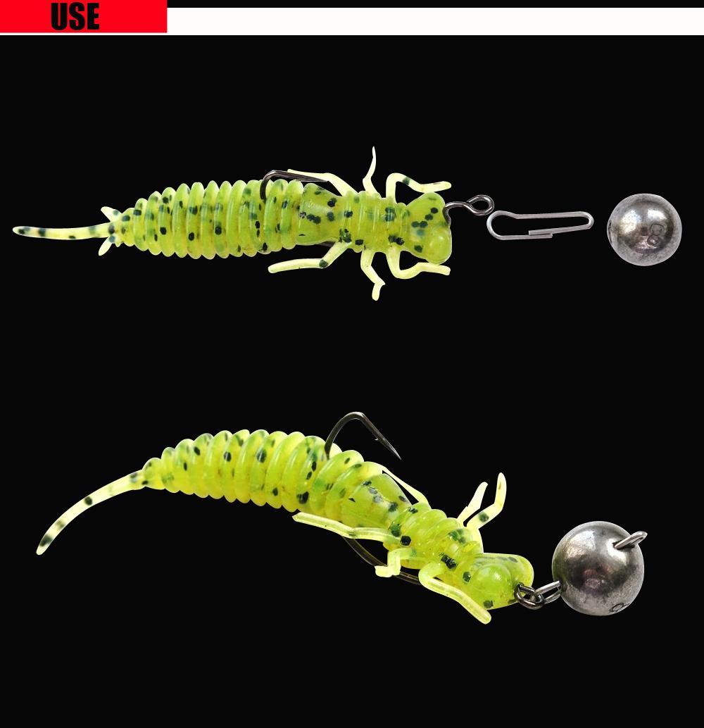 RoseWood Larva Soft Lure 1.4g 6cm Swimbait Worm Fishing Bait Isca Artificial Lifelike Dragonfly Jigging Fishing Tackle China (2)