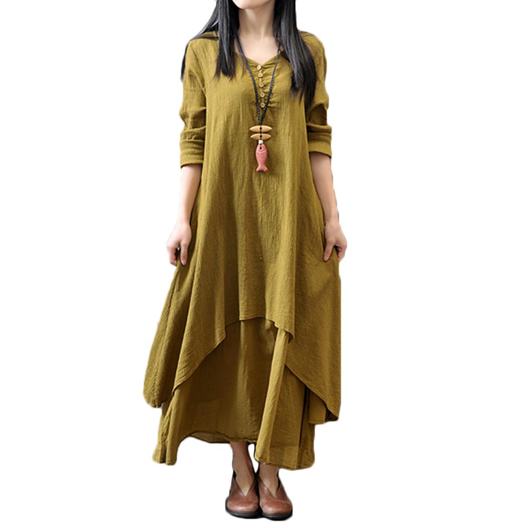 2019 baumwolle leinen maxi dresse frauen gefälschte zwei stücke langarm  dress casual sommer damen lose übergroße kleider 4xl plus größe