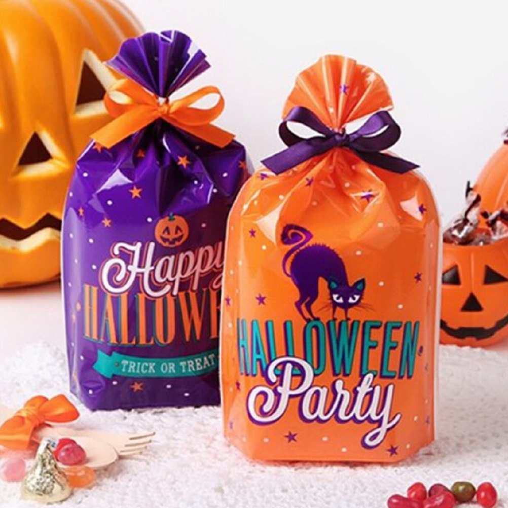 Halloween Treat Bag Plastic Party Favor Gift Trick Or Treat Bag Bread Cookie Food Candy Packaging Bags Storage Bag