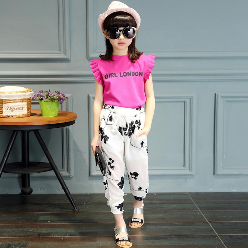 Kids Girls Clothing Sets 2018 Cute Princess letter T-shirt and Jacquard Chiffon pants Children Clothing Set Wear 5-14 Ages Y1892808